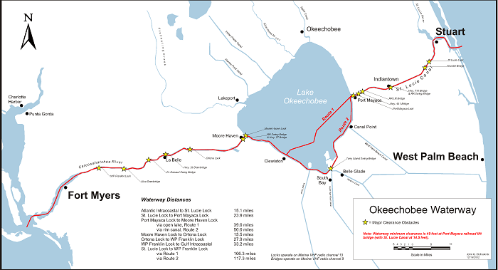Chart or Map of the Okeechobee Waterway showing Route #1 and Route #2